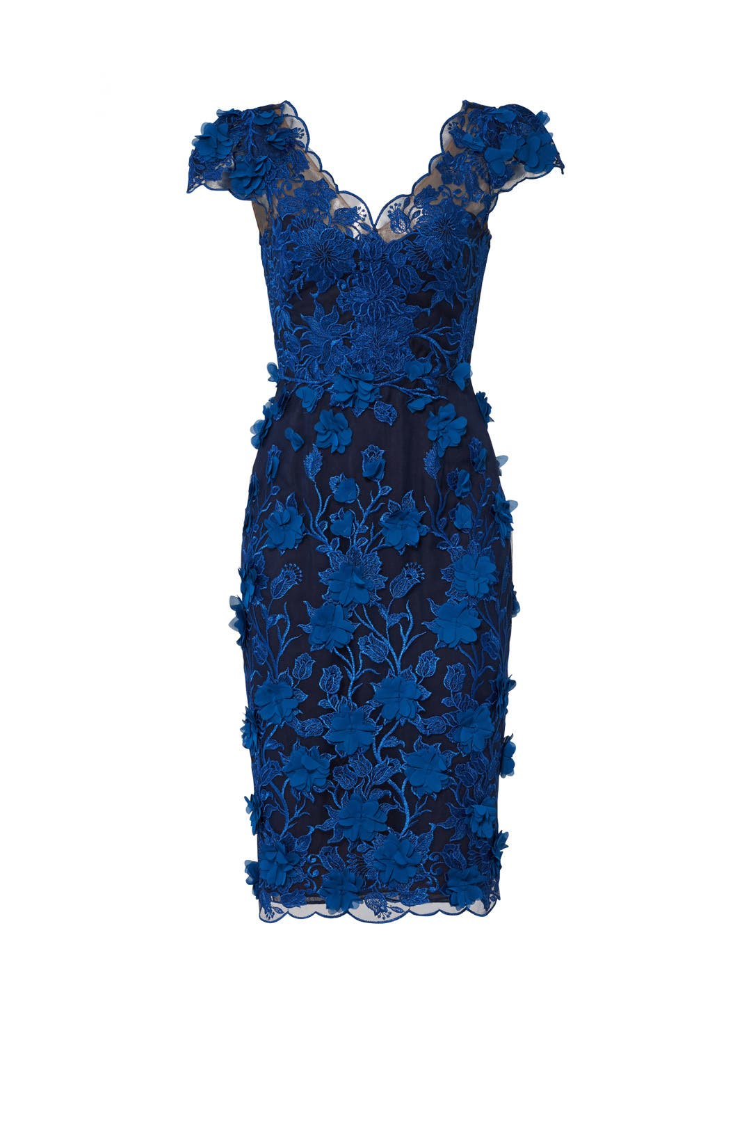 Marchesa Notte - 3D Floral Halter Gown w/ Embroidery (Navy) Women's Dress