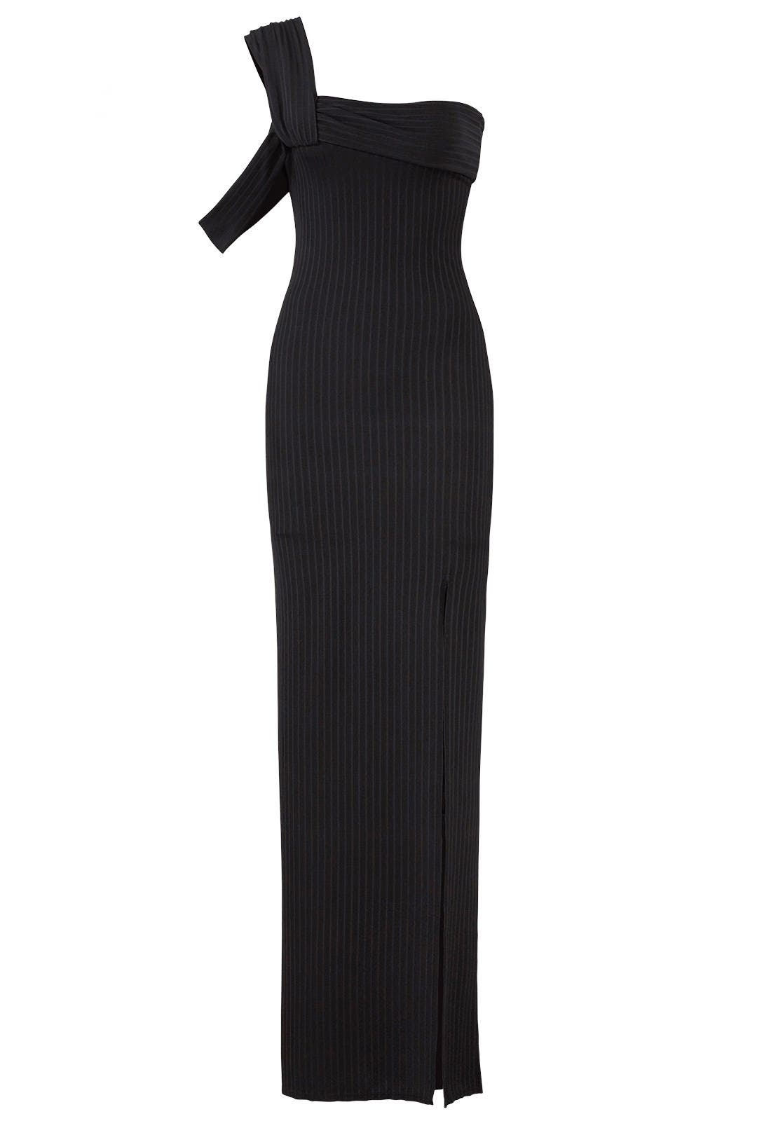 Black High Slit Gown by Baja East for $80 - $100 | Rent the Runway