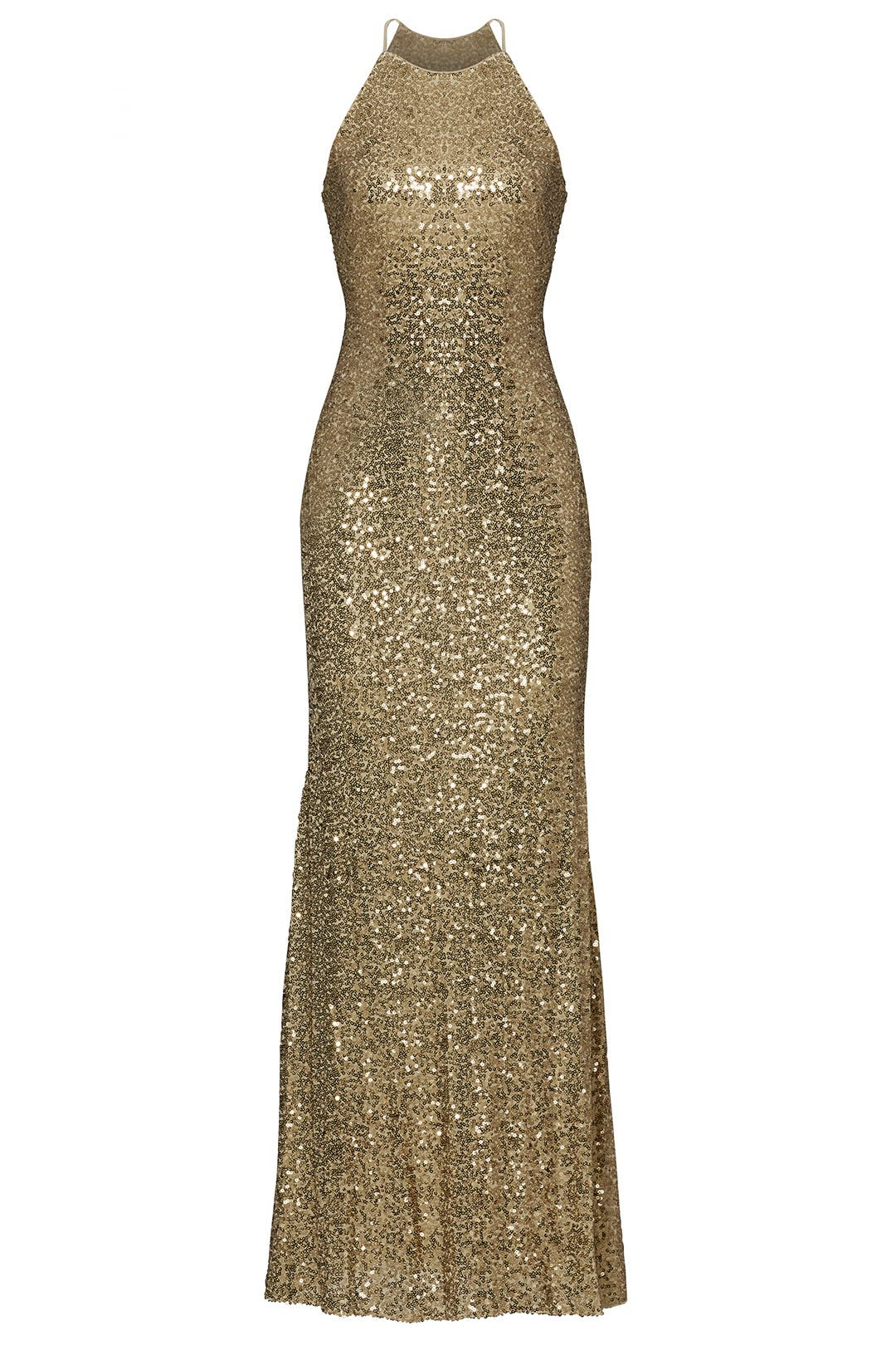 Gold Sequin Halter Gown by Badgley Mischka for $100 | Rent the Runway