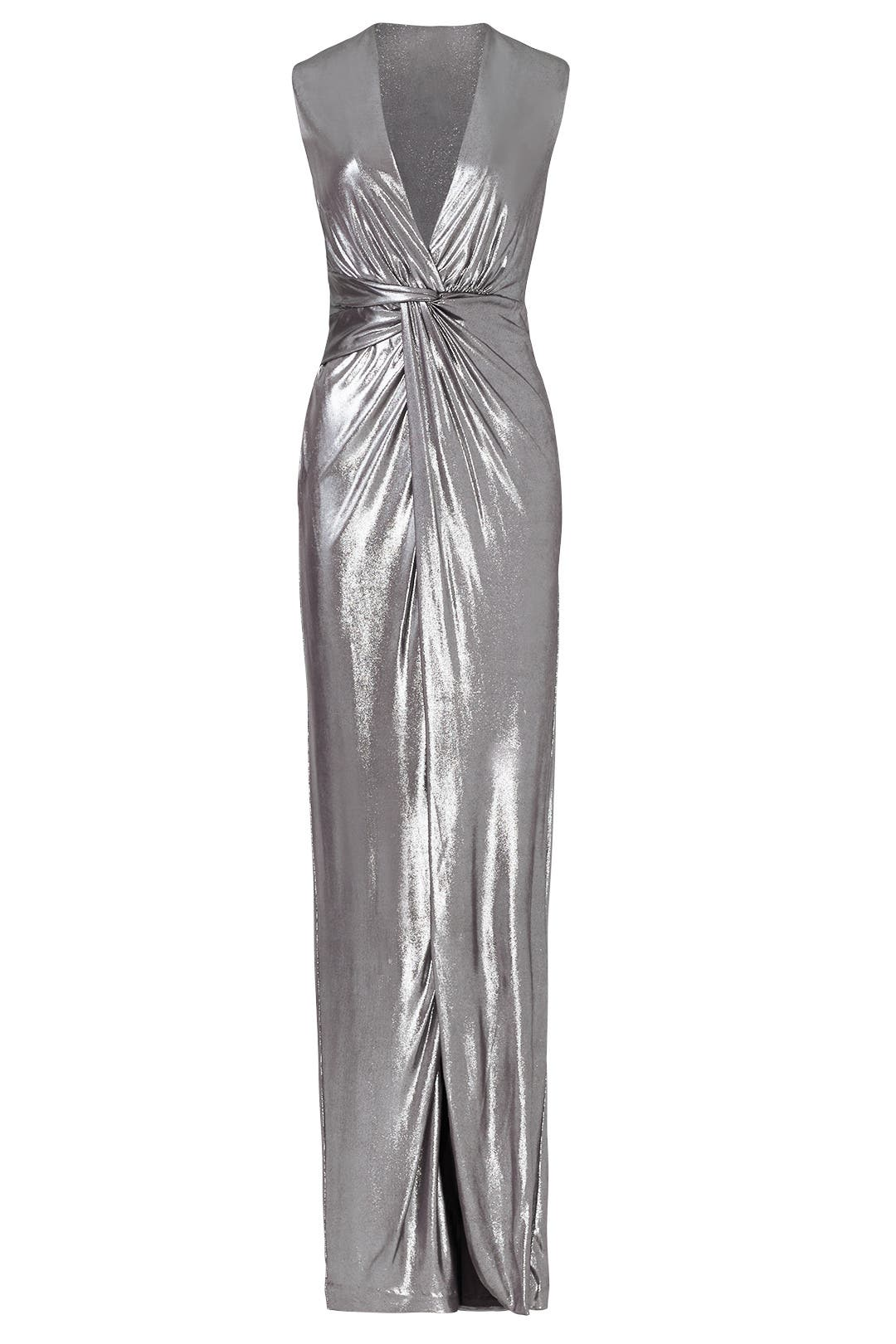 Silver Twist Column Gown by Halston Heritage for $50 - $70 | Rent ...