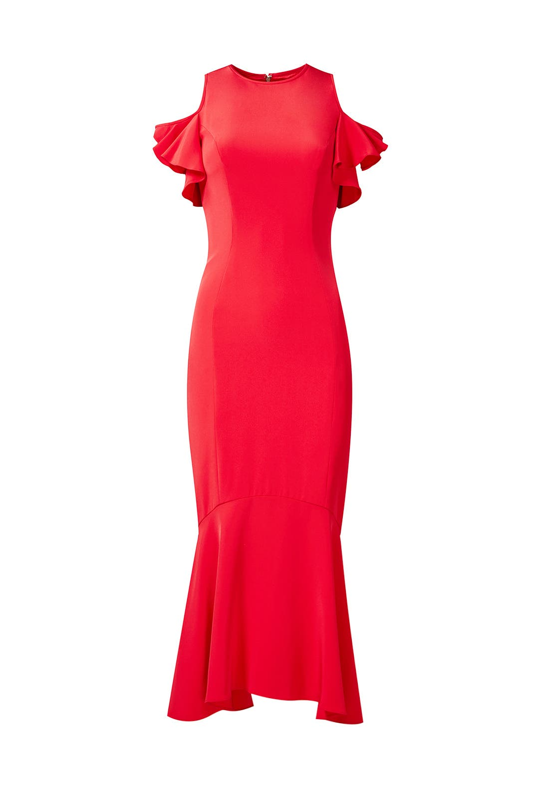 Geranium Ruffle Dress by Theia for $75 - $95 | Rent the Runway