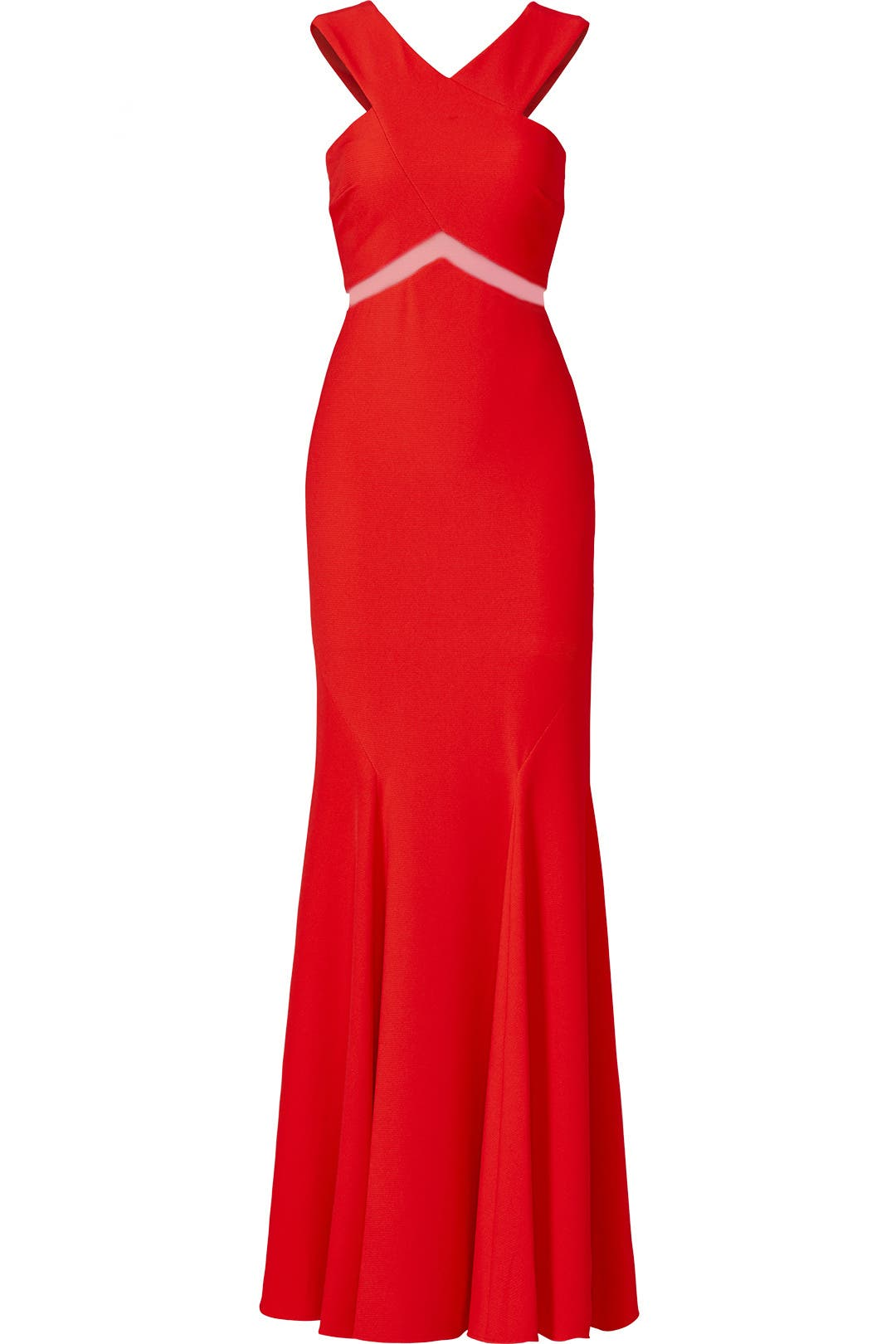 Red Chevron Cutout Gown by Mignon for $55 - $85 | Rent the Runway