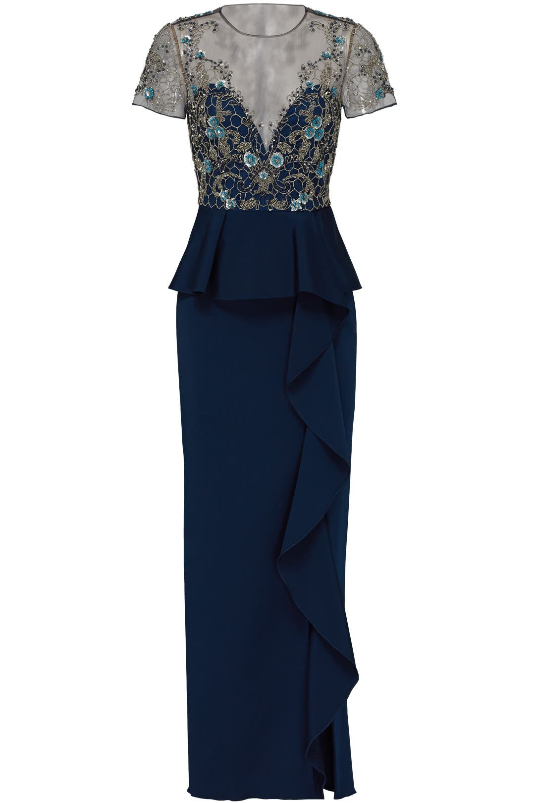 Navy Lace Ruffle Gown by Marchesa Notte for $180 | Rent the Runway