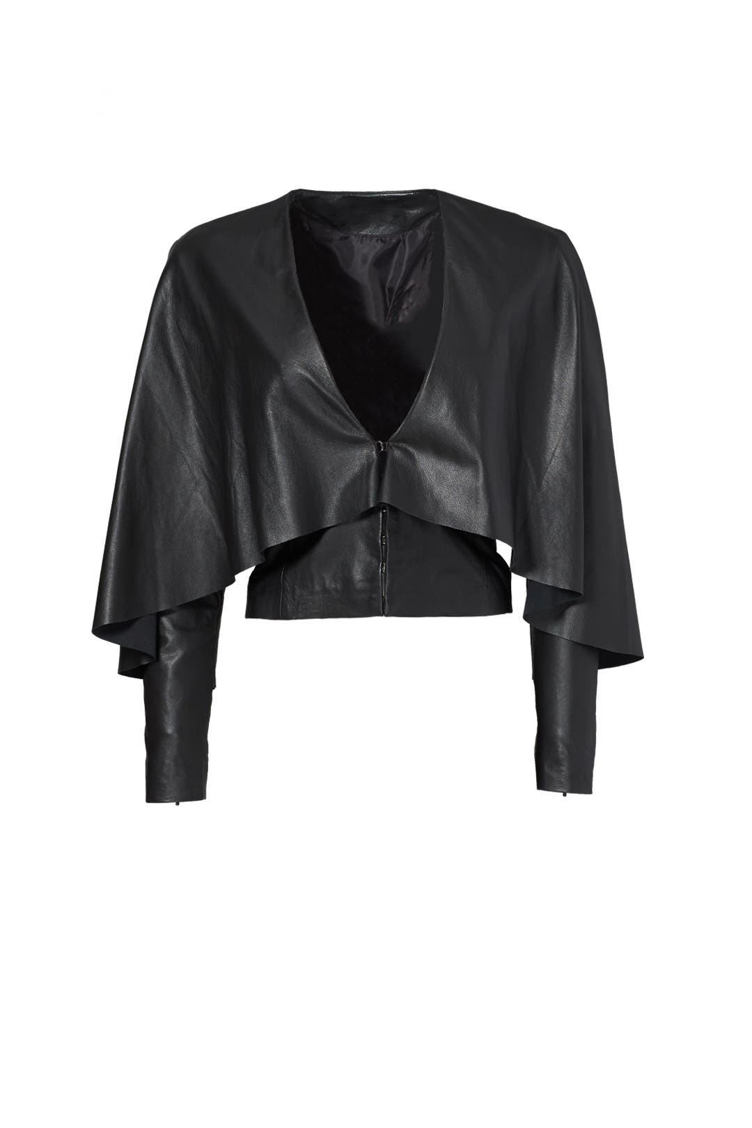 Black Leather Cape Jacket by Asilio for $98 | Rent the Runway