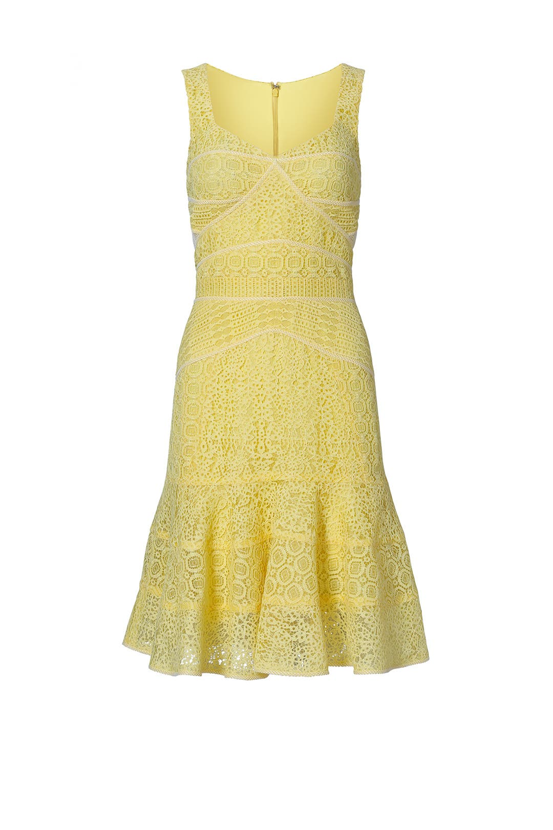 Yellow Lace Sweetheart Dress by J. Mendel for $470 - $490 | Rent the ...