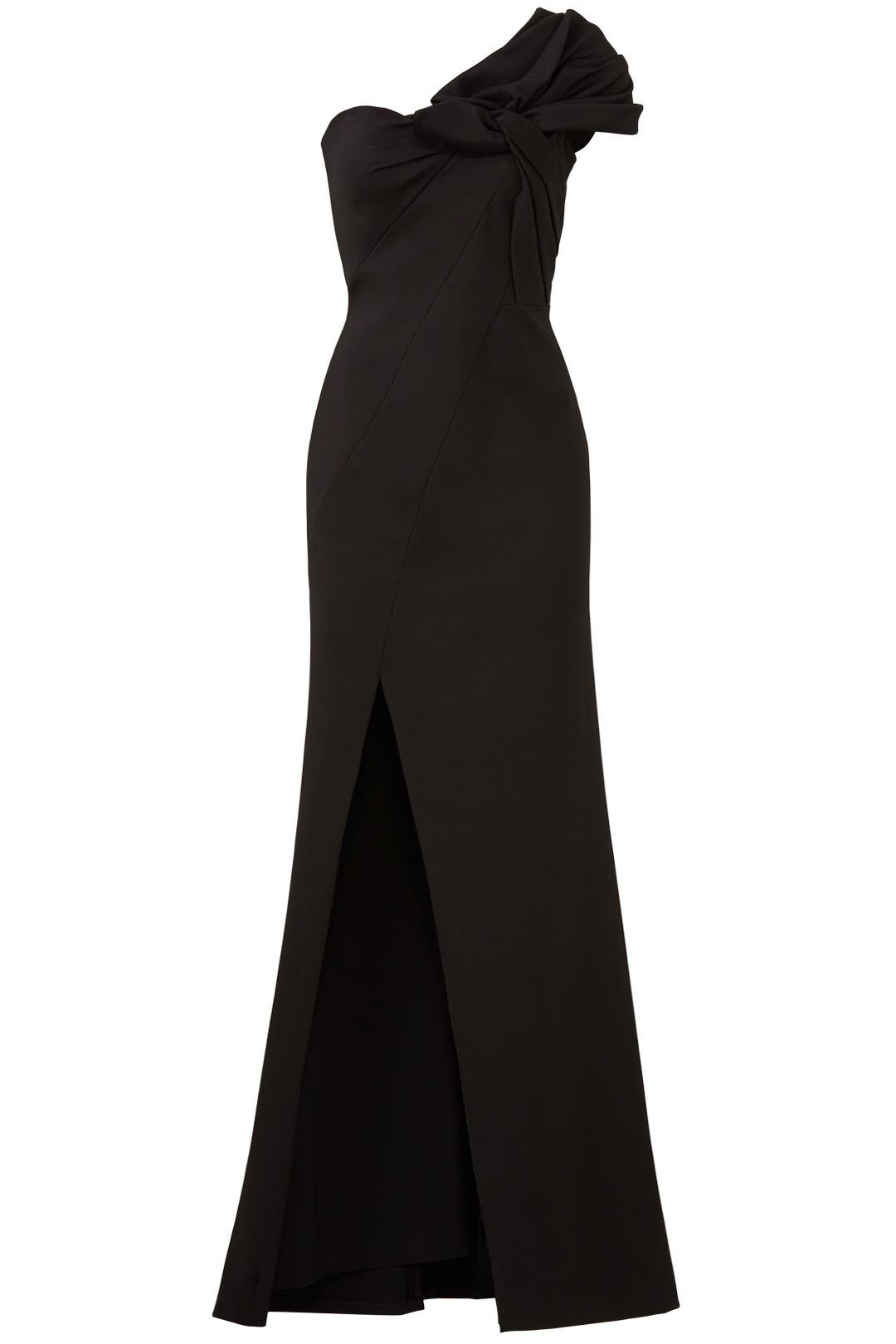 Black Bow Crepe Gown by Aidan Mattox for $70 - $80 | Rent the Runway