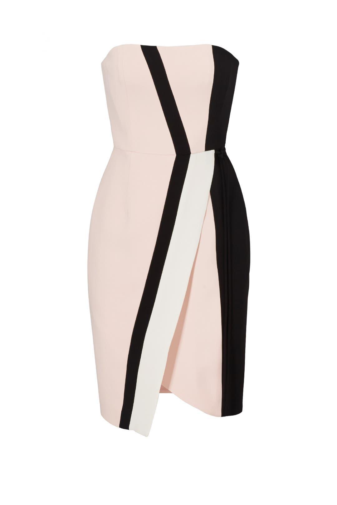 Pink Asymmetric Graphic Crepe Dress by J. Mendel
