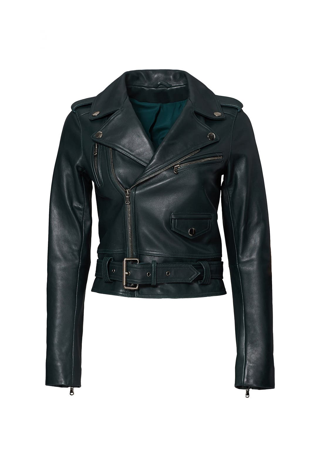Green Cooper Leather Jacket by Parker for $100 | Rent the Runway