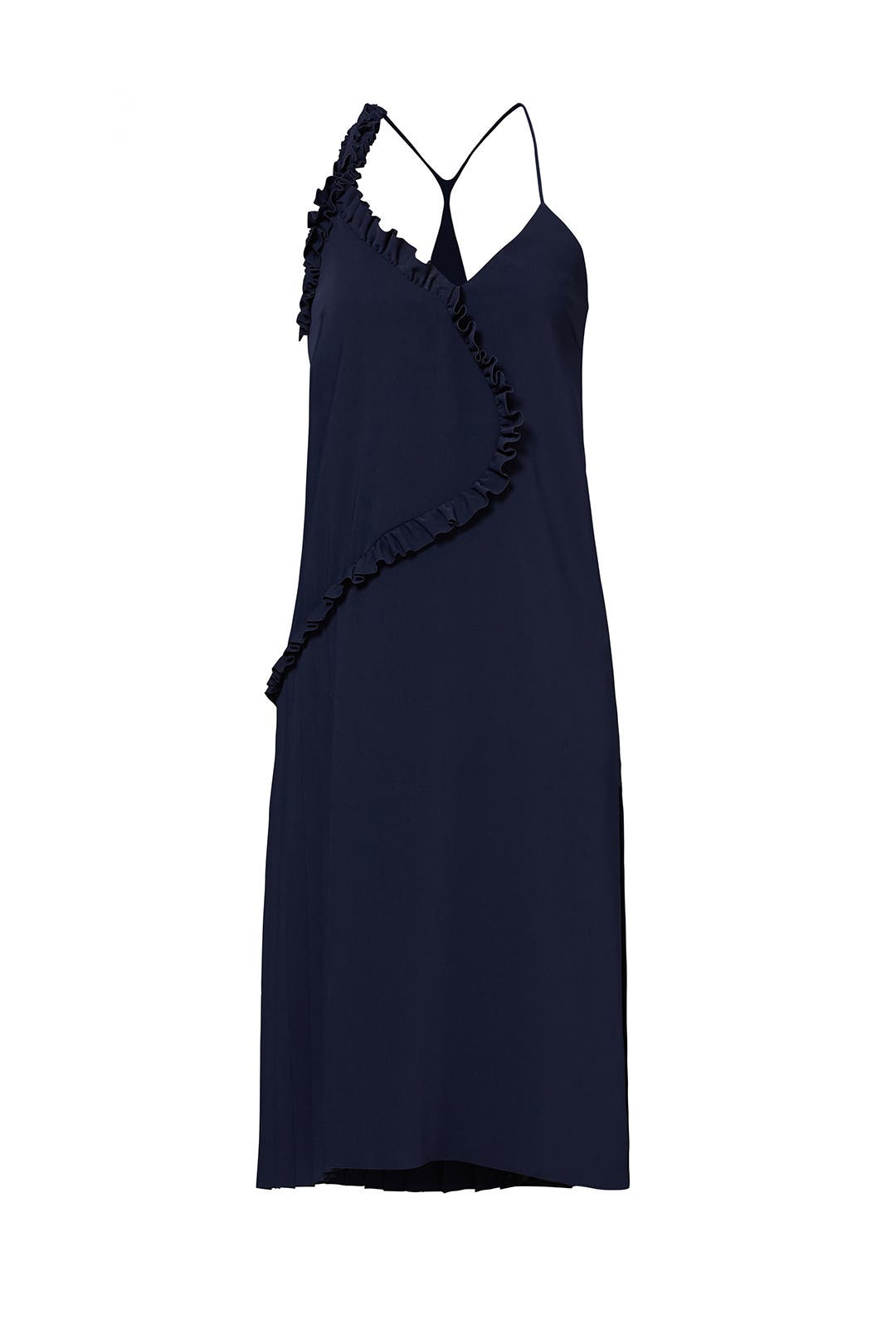Navy Ruffle Slip Dress by Cedric Charlier for $209 | Rent the Runway