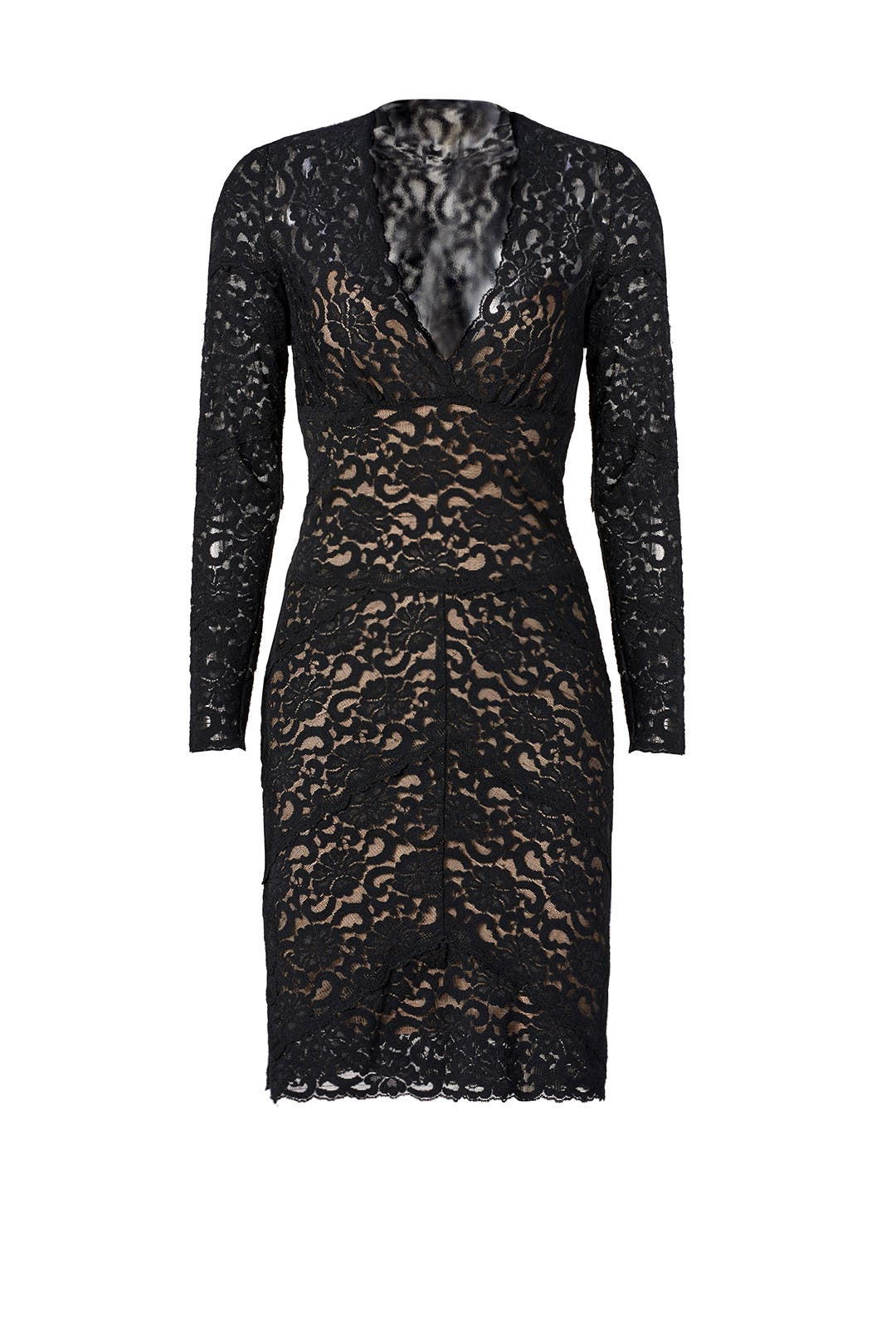 Kate Lace V Dress by Nicole Miller