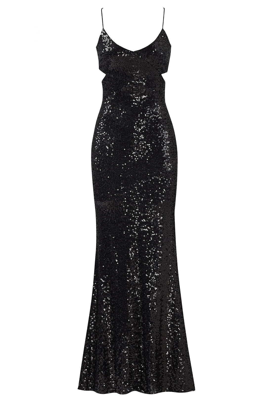 Black Sequin Cutout Gown by Badgley Mischka for $90 | Rent the Runway