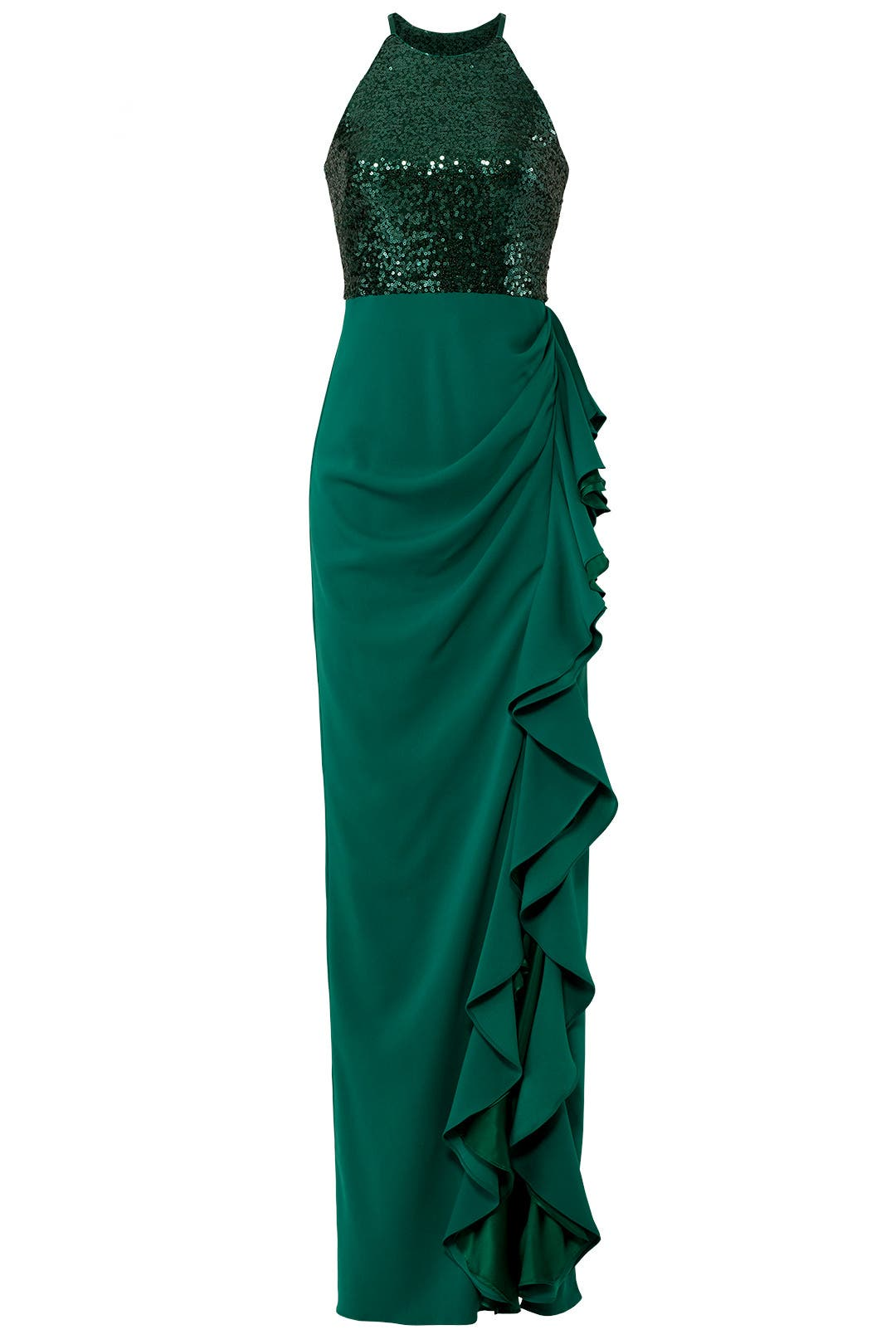 Sequin Ruffle Gown by Badgley Mischka for $100 | Rent the Runway