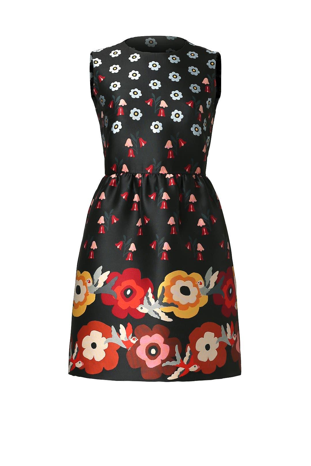 Red valentino black floral dress