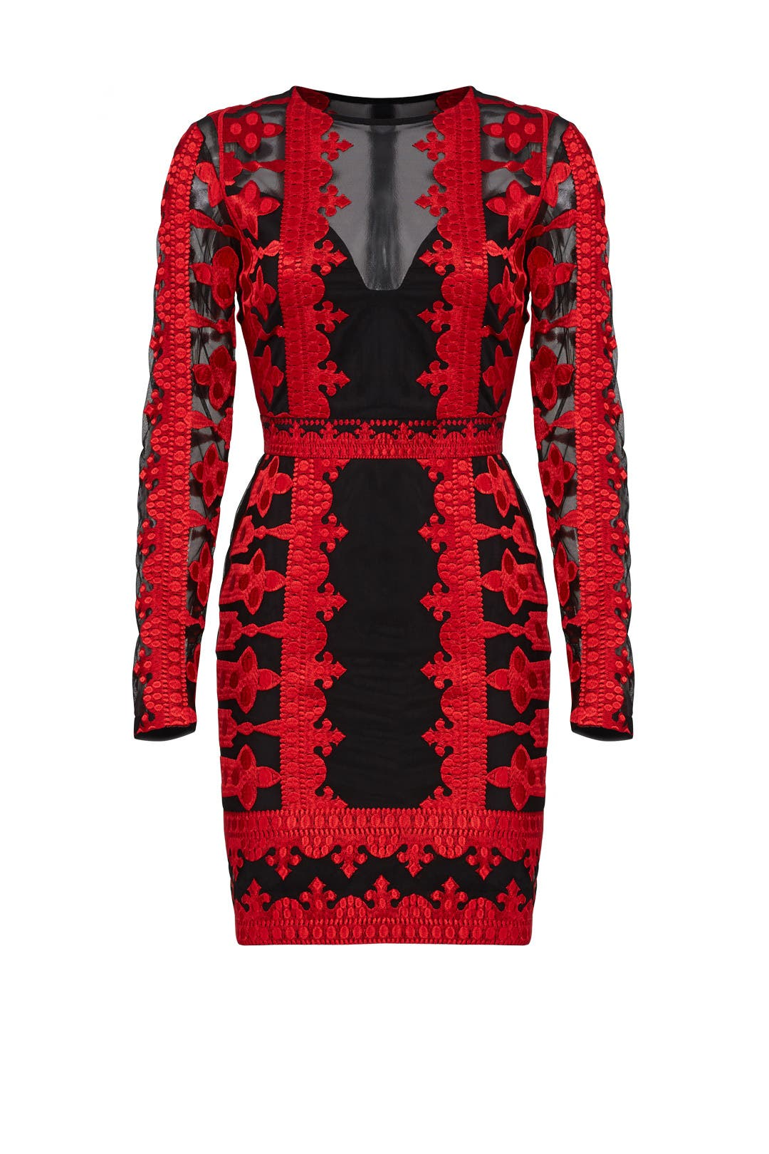 Red Embroidered Mesh Sheath By Nicole Miller For 55 75 The Runway