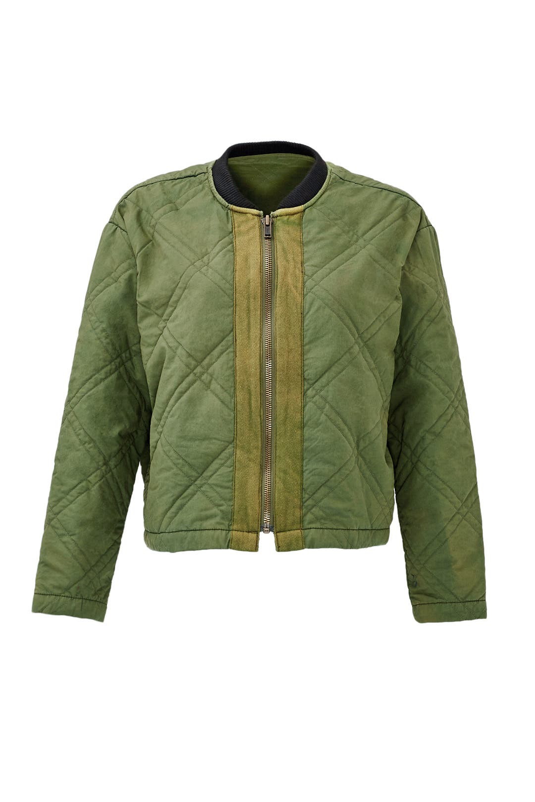 Green Quilted Bomber Jacket by Free People for $35 - $45 | Rent