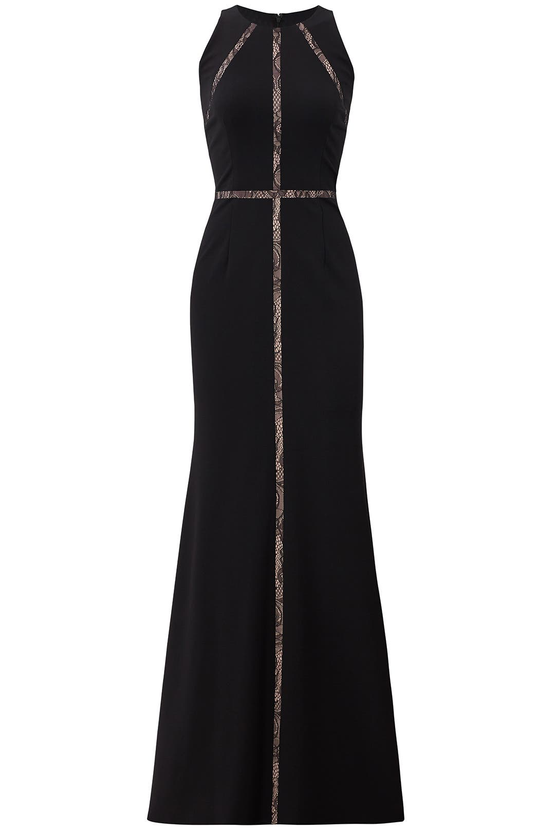 Black Insert Lace Gown by Adrianna Papell for $40 - $70 | Rent the ...
