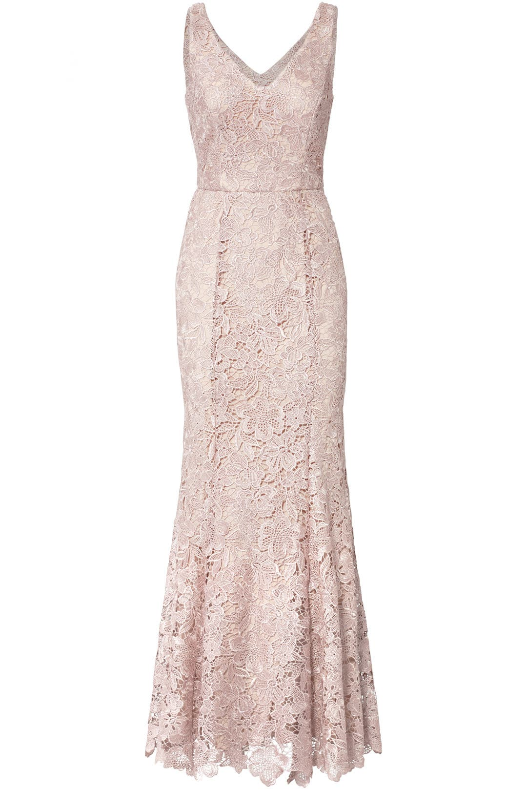Blush Floral Lace Gown by JS Collection for $50 - $70 | Rent the Runway