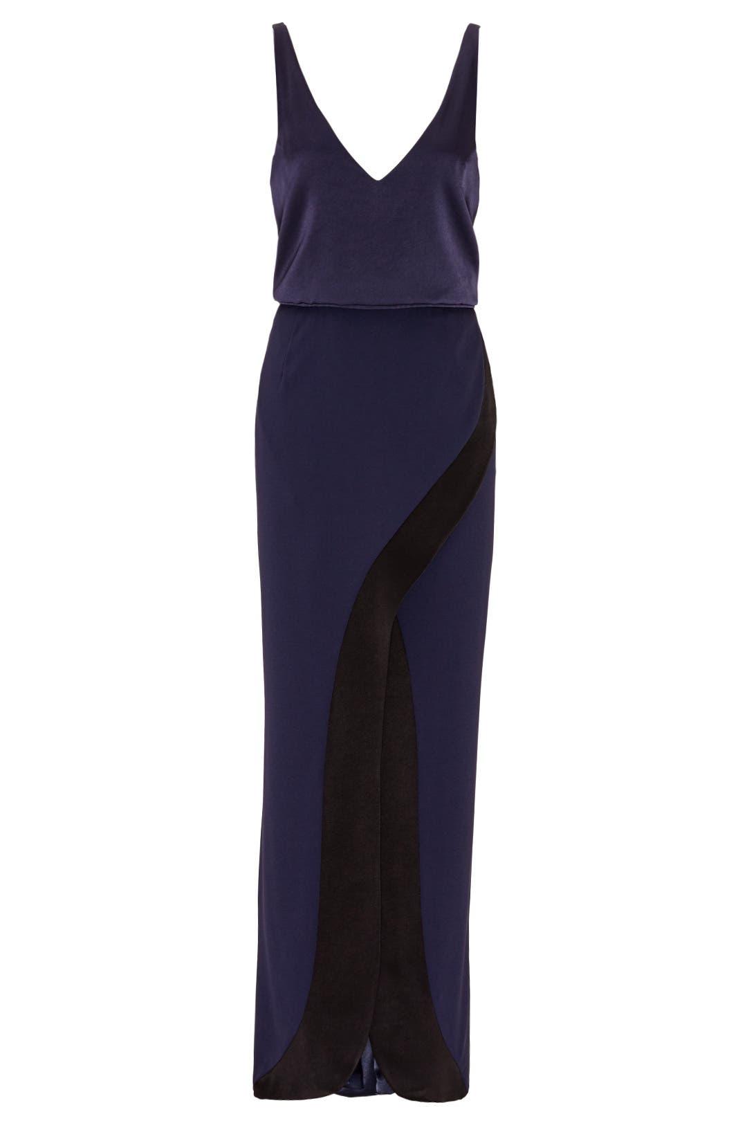 Black tie dresses galvan navy contrast crepe satin gown junglespirit Gallery