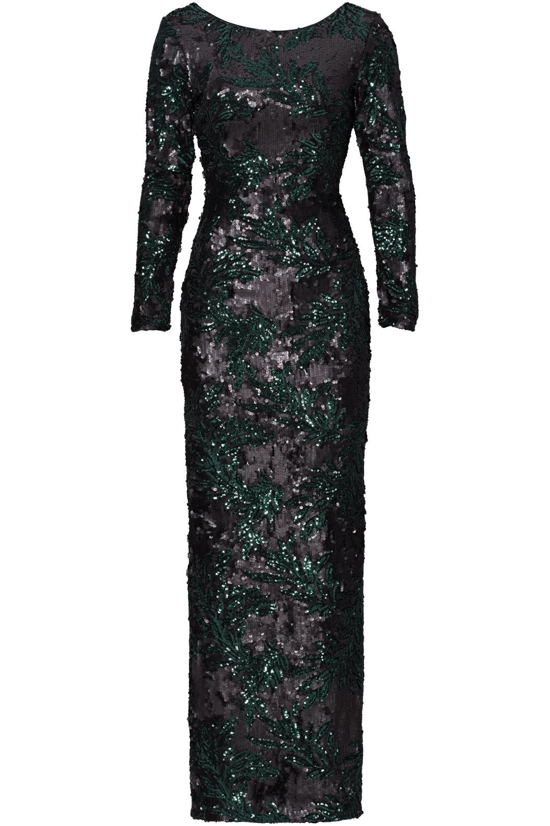 Green Printed Sequin Gown by Slate & Willow for $70 - $90 | Rent the ...