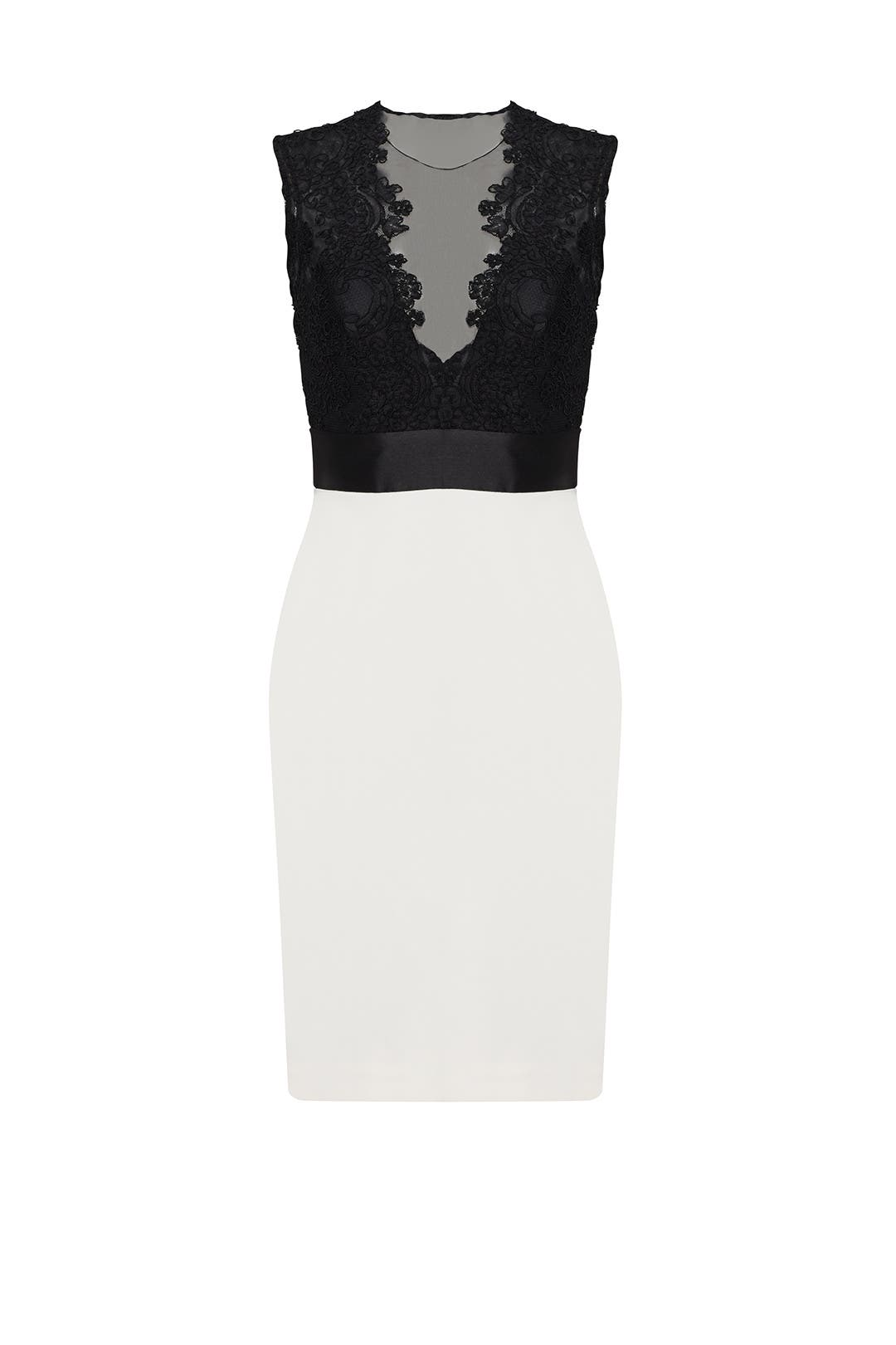 Black and White Midnight Sheath by Theia for $100 - $110 | Rent the ...
