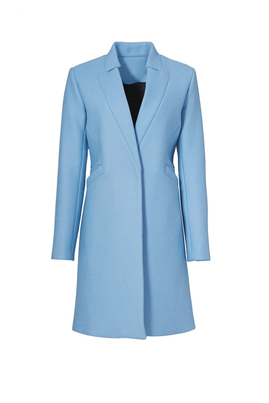 Ice Blue Doubleface Wool Slim Coat by Milly