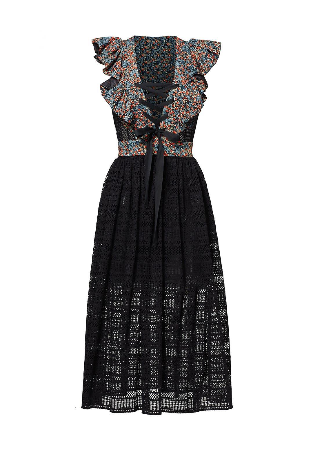 Floral Crochet Midi Dress by Philosophy di Lorenzo Serafini for $145 ...