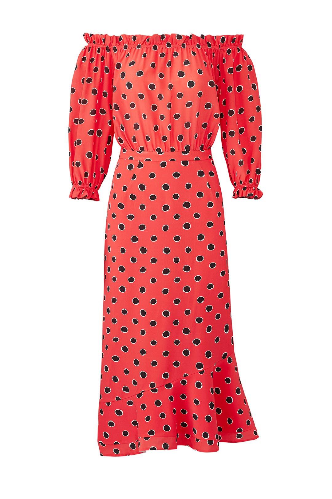 Womens Grace Polka Dot Silk Midi-Dress Saloni PcPSF9Zef