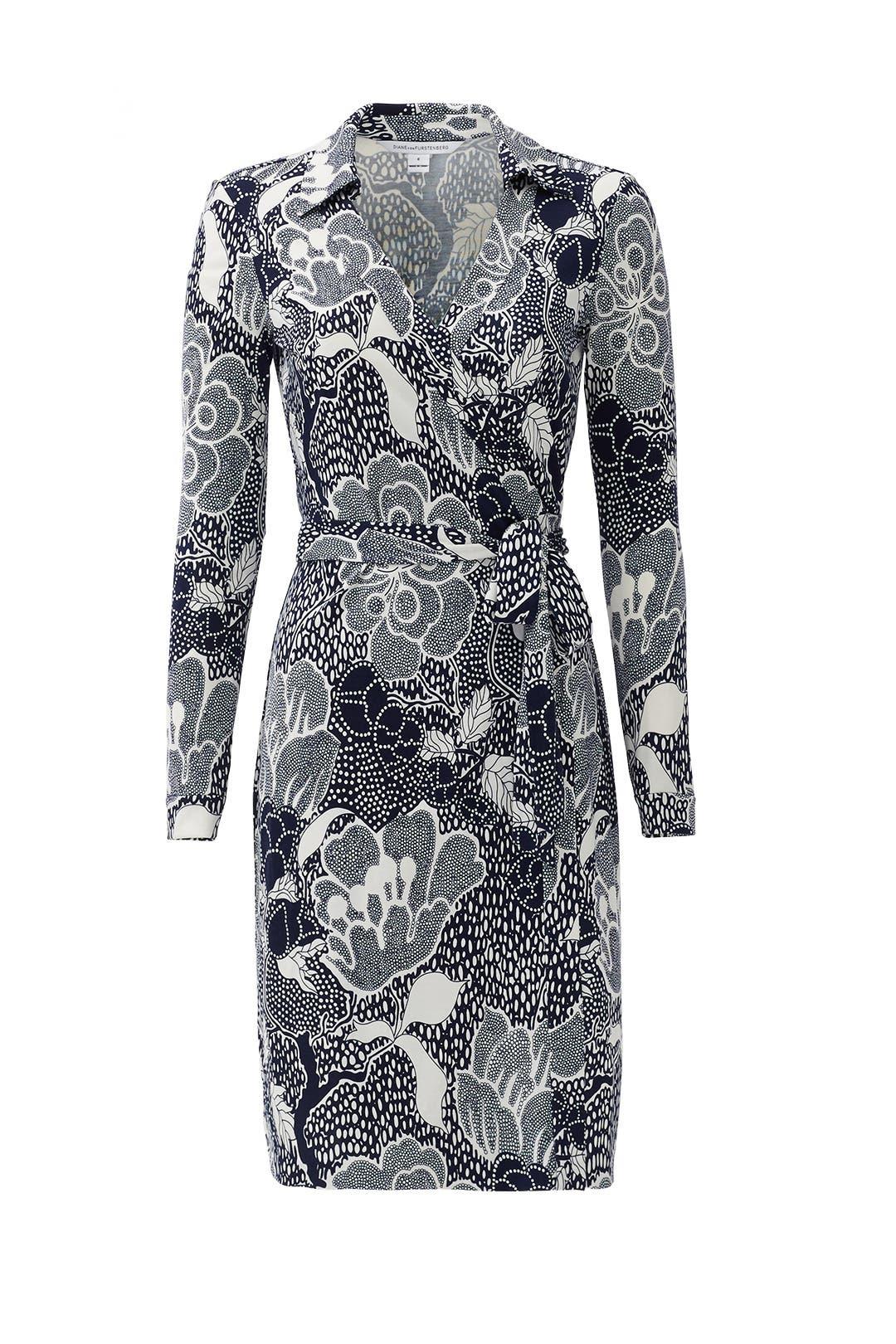Navy New Jeanne Wrap Dress by Diane von Furstenberg for $70 | Rent ...