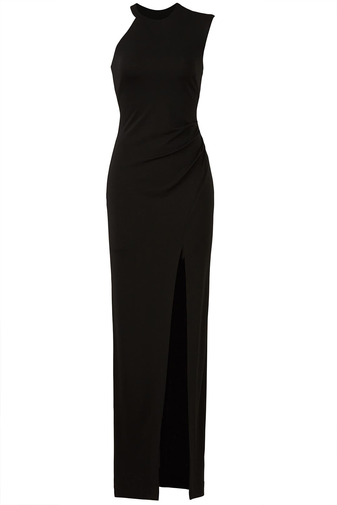 Black Ruched Gown by Nicole Miller for $50 - $70 | Rent the Runway