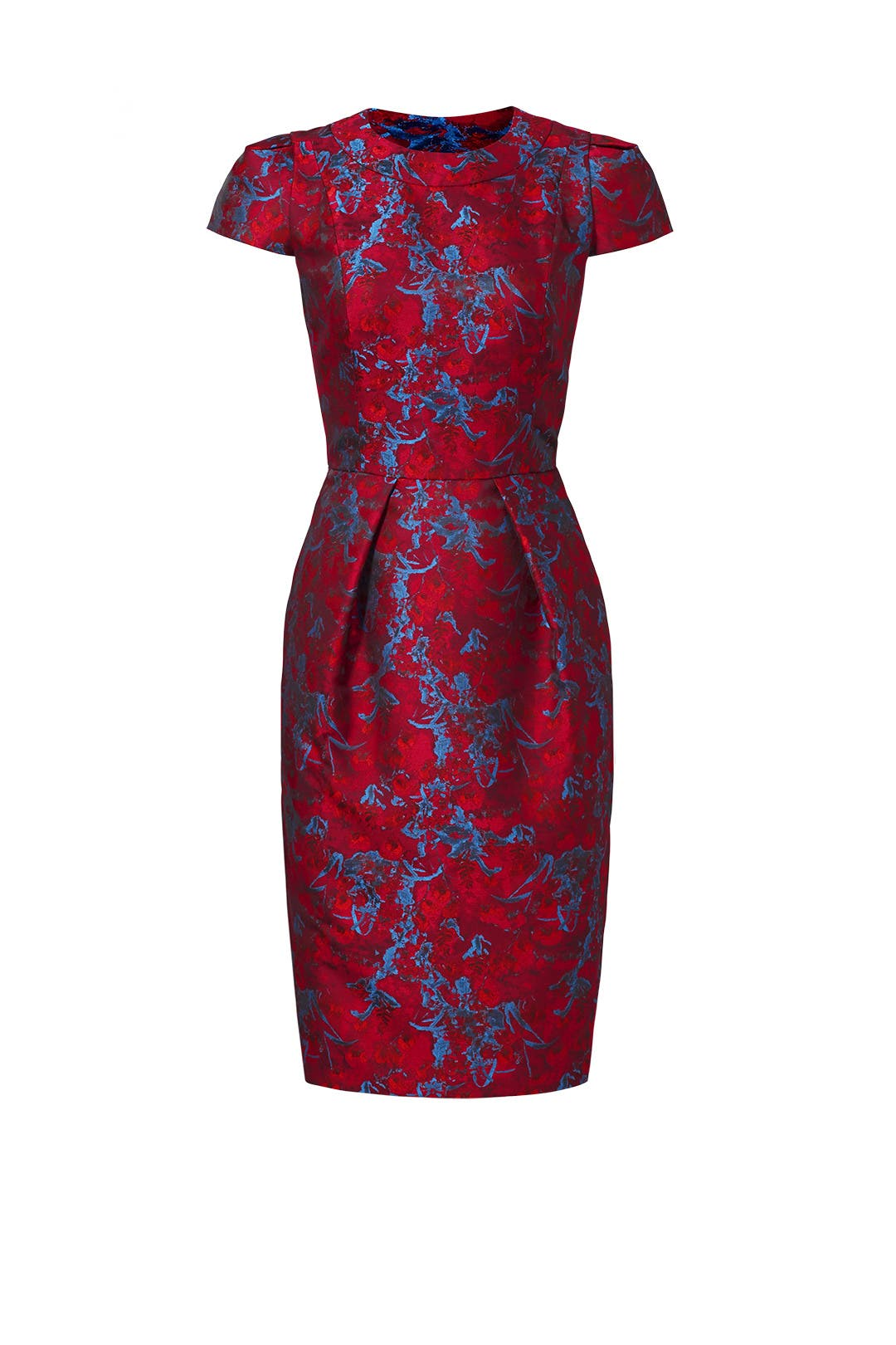 Cranberry Jacquard Dress by Carmen Marc Valvo for $70 - $90 | Rent ...