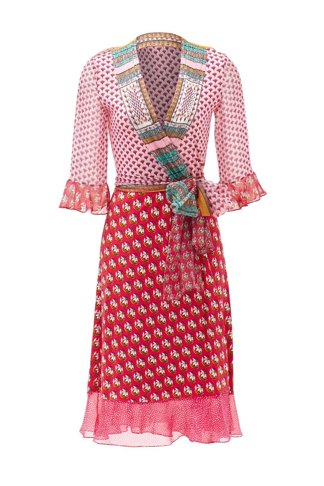 Pink Nieves Wrap Dress by Diane von Furstenberg for $100 | Rent the ...