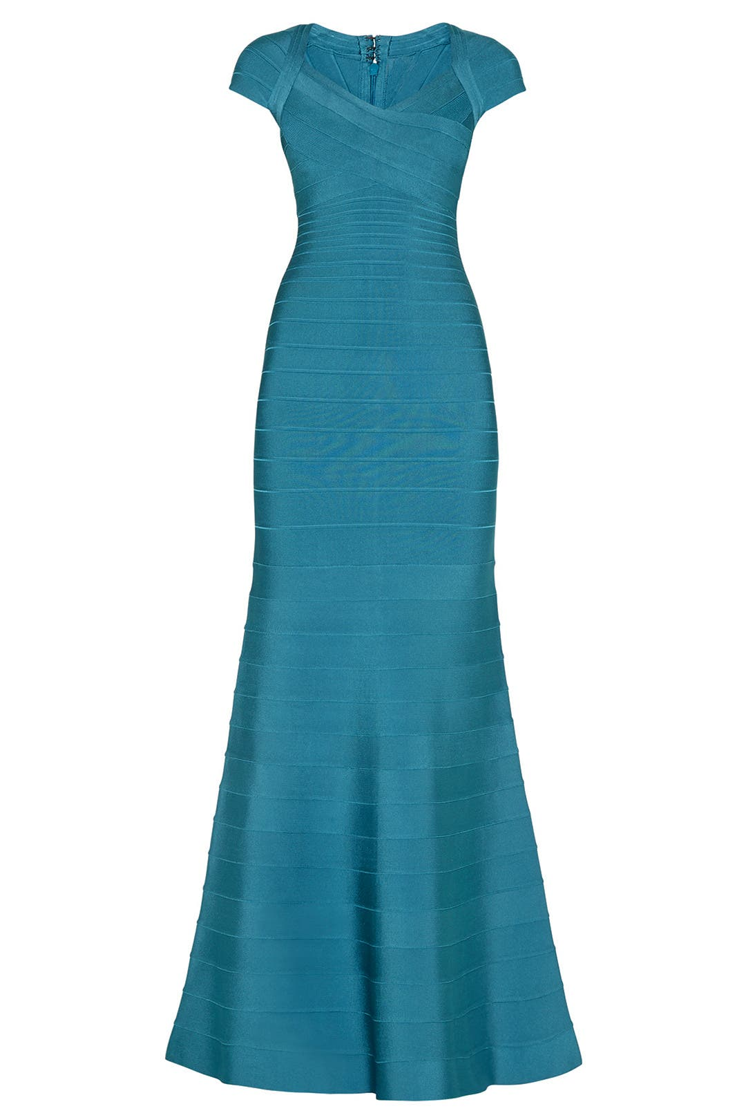 Teal Cap Sleeve Mermaid Gown by Hervé Léger for $225 | Rent the Runway