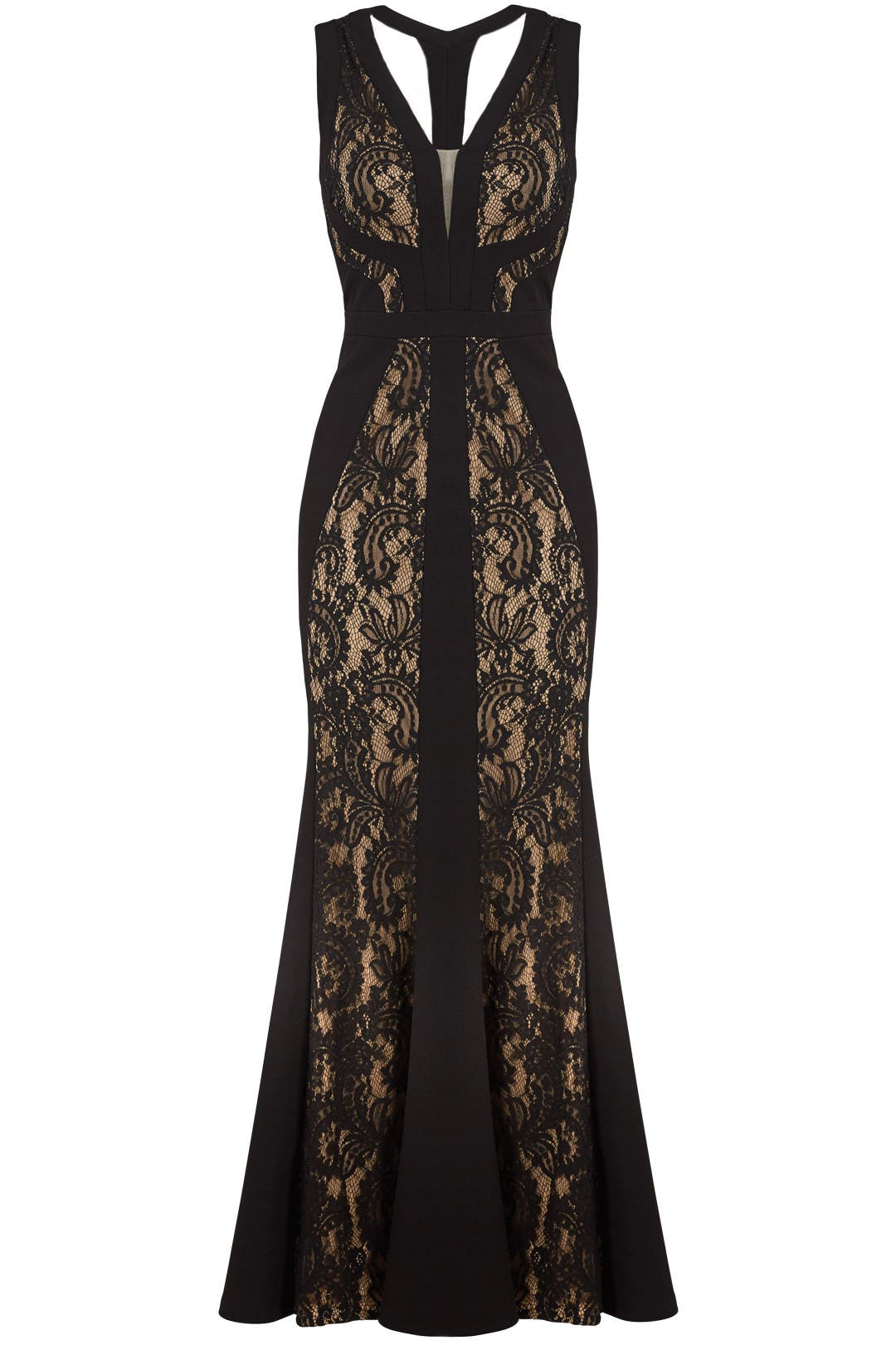 Black & Nude Lace Gown by LM Collection for $50 - $80 | Rent the Runway