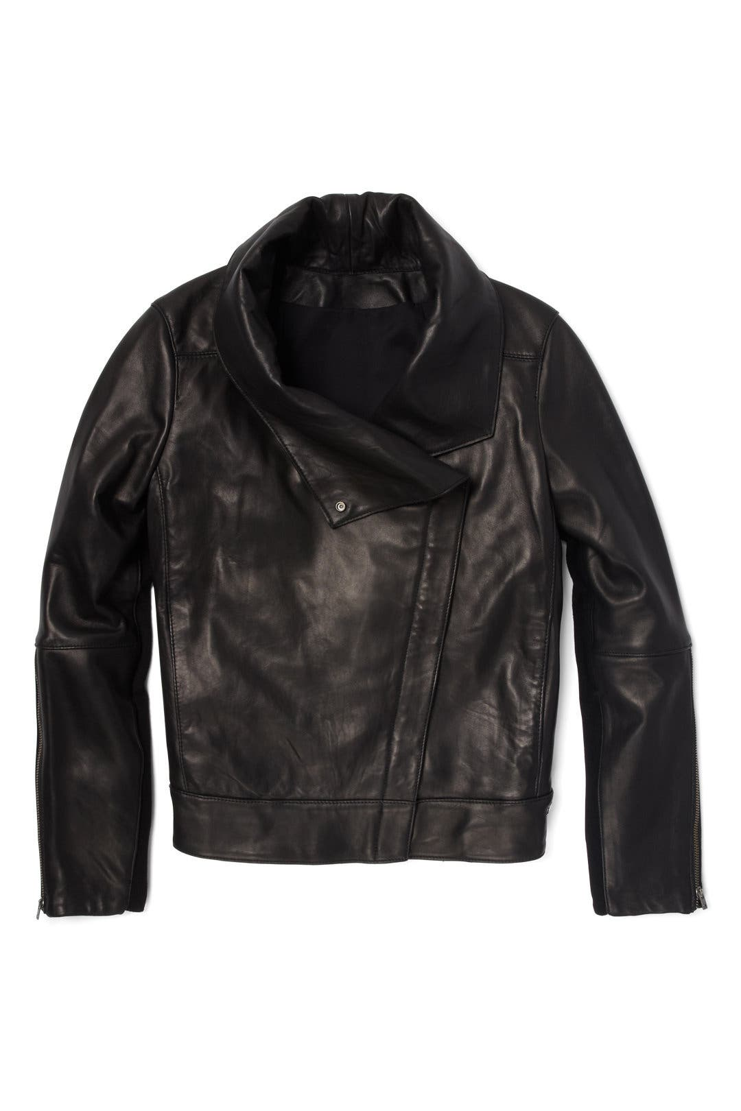 e163891e6 Helmut Lang Black Petal High Collar Jacket