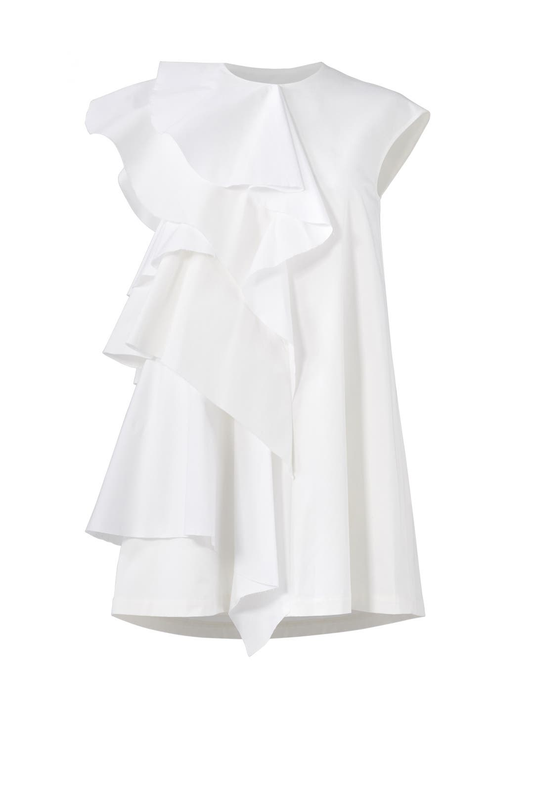 White Ruffle Dress by MSGM for $80 | Rent the Runway