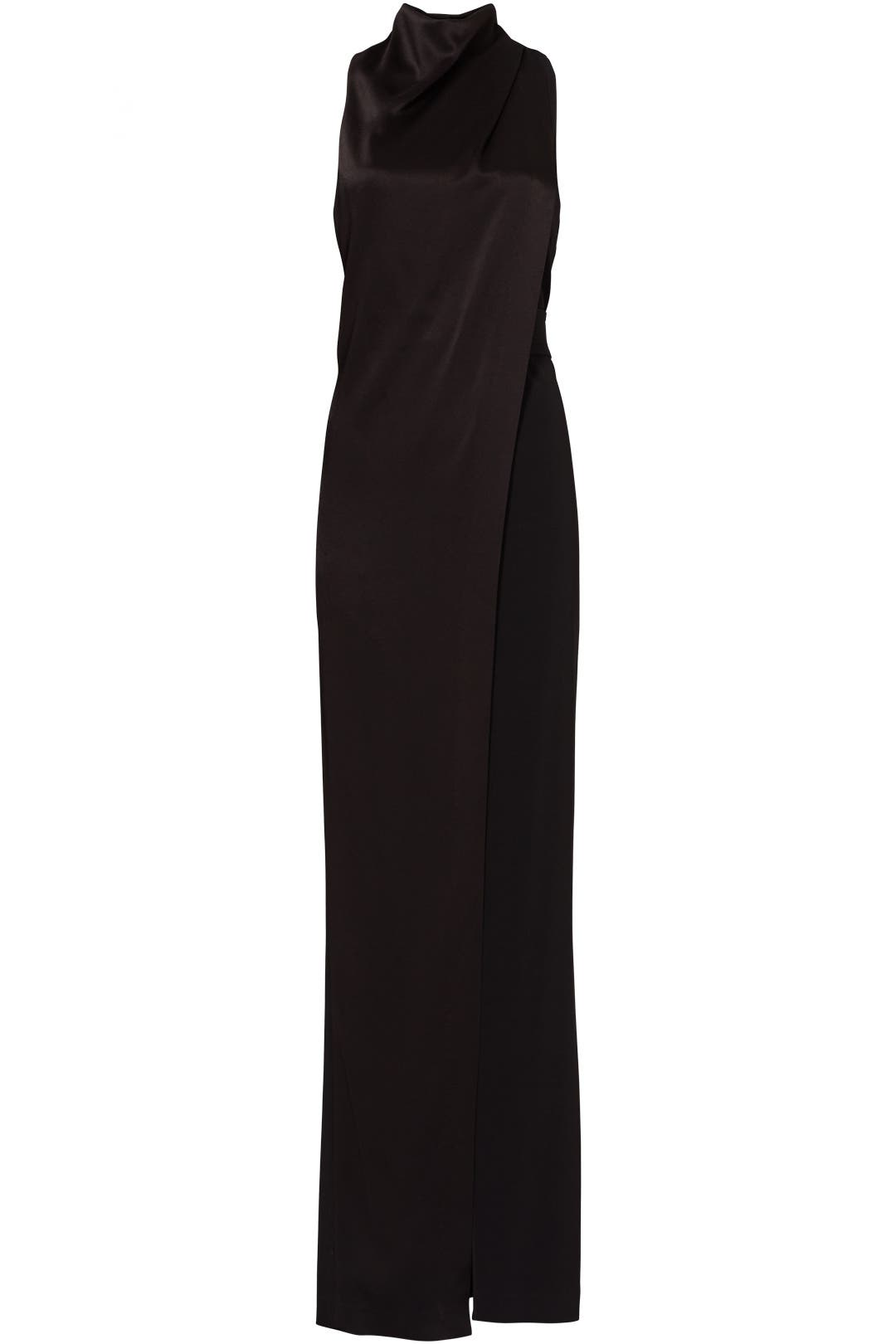 Black Smooth Draped Gown by Halston Heritage for $55 - $75 | Rent ...