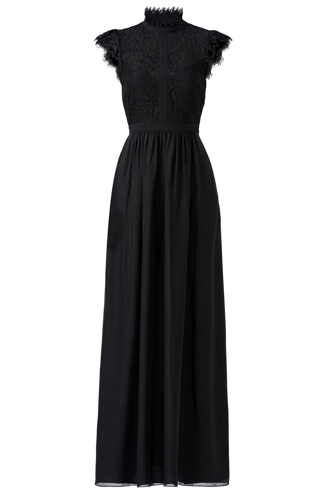 Black Lace Paneled Gown by Rachel Zoe for $90 - $100 | Rent the Runway