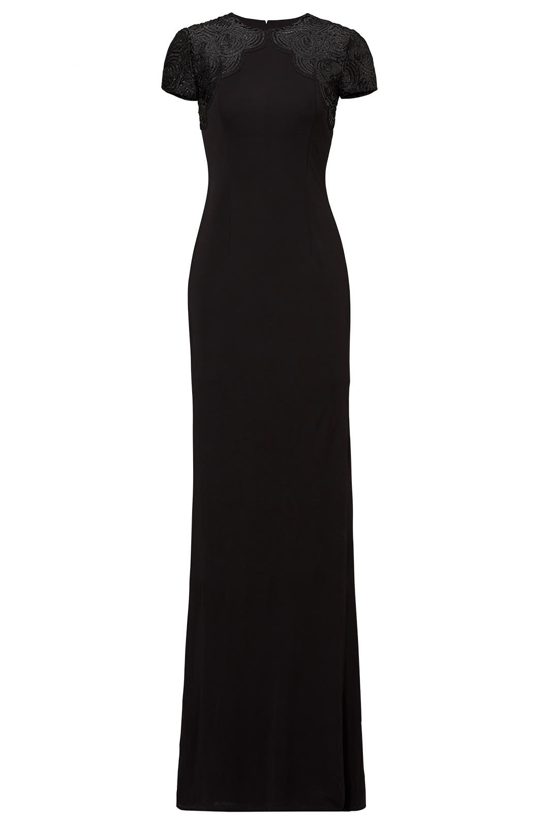 Black Rosette Yoke Gown by David Meister for $186 | Rent the Runway