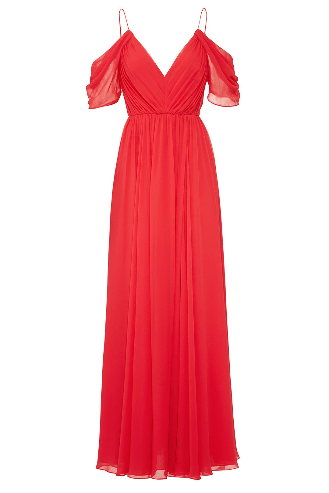 sending wedding invitations months before%0A Red Cold Shoulder Gown by Badgley Mischka for              Rent the Runway