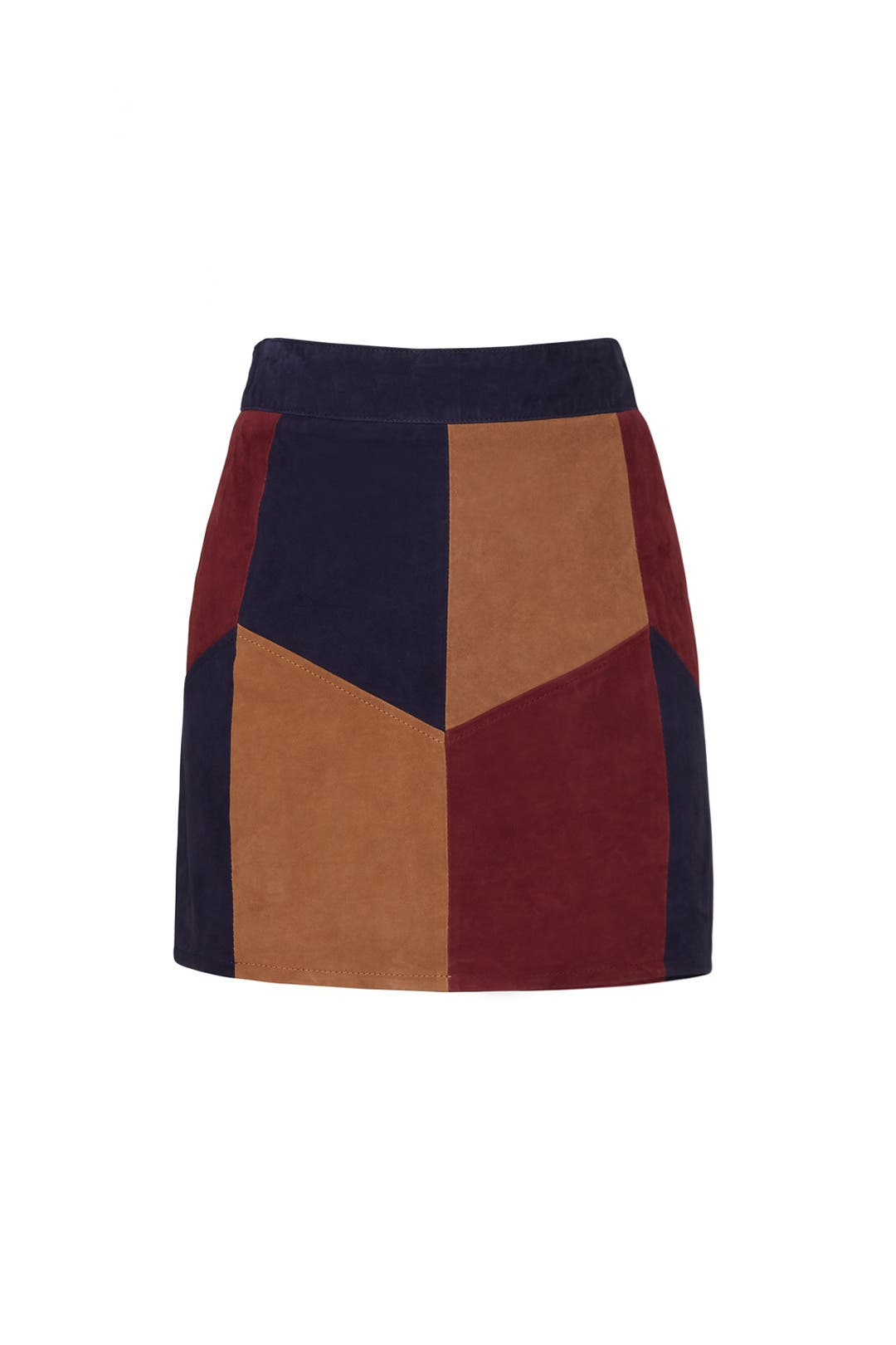 Retro Suede Patchwork Skirt by LAMARQUE