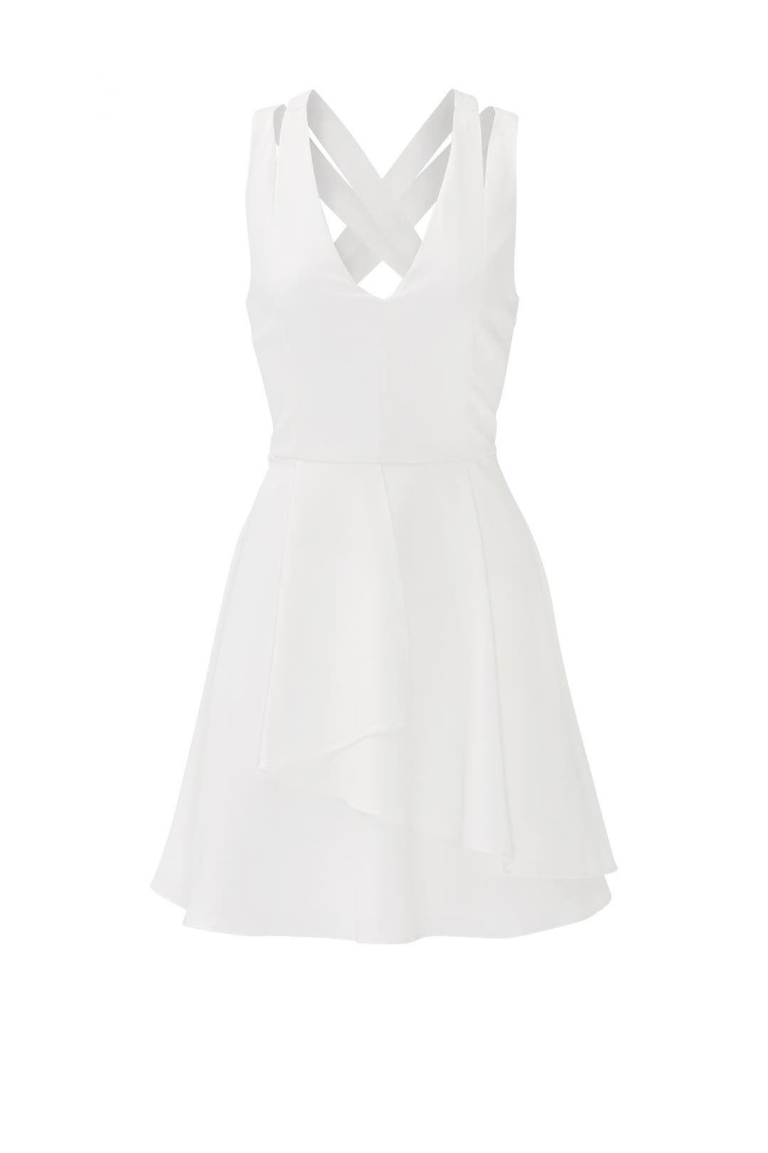 White Double Ruffle Dress by Adelyn Rae for $30 - $45 | Rent the ...