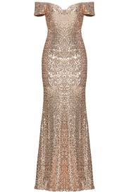 Blush Sequin Off Shoulder Gown by Badgley Mischka