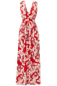 Red Floral Printed Maxi by Paper Crown