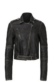 Black Washed Moto Leather Jacket by Nicole Miller