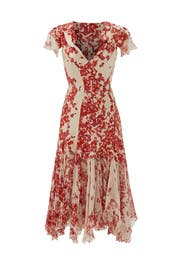 Hibiscus Print Silk Dress by ZAC Zac Posen