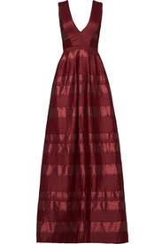 Bordeaux Satin Stripe Gown by ML Monique Lhuillier
