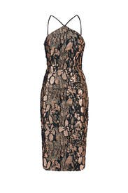 Rose Gold Flower Press Sheath by Theia