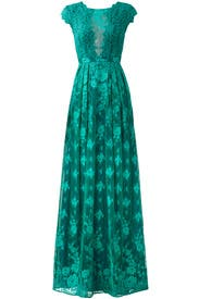 Green Floral Lace Gown by ML Monique Lhuillier for $75 | Rent the ...