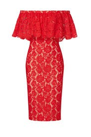 Red Off Shoulder Lace Dress by Theia