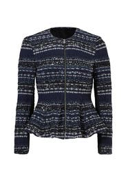 Navy Lurex Tweed Jacket by Rebecca Taylor for $95 | Rent the Runway